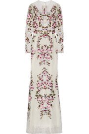 Zuhair Murad Embroidered silk-blend lace gown