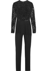 Zuhair Murad Embellished tulle and silk-blend crepe jumpsuit