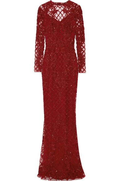 Zuhair Murad - Open-back Embellished Silk-blend Tulle Gown - Claret