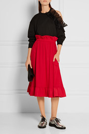 Ruffle-trimmed brushed-twill skirt