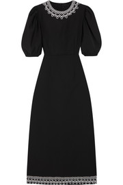 Lace-trimmed stretch wool-blend midi dress