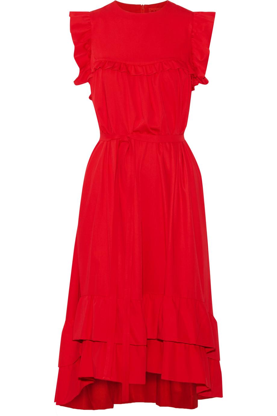 Asymmetric Ruffled Brushed-Twill Midi Dress
