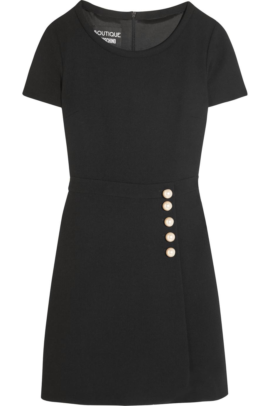 Faux Pearl-Embellished Wool-Crepe Mini Dress, Black, Women's, Size: 48