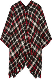 Checked wool-blend bouclé poncho