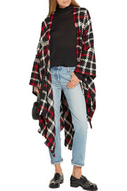 Boutique Moschino Checked wool-blend bouclé poncho