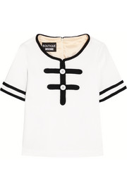 Boutique Moschino Bouclé-trimmed wool top