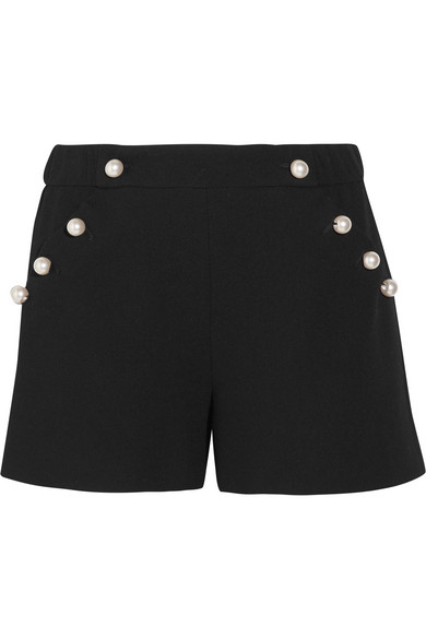 Boutique Moschino - Faux Pearl-embellished Wool-crepe Shorts - Black