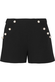 Faux pearl-embellished wool-crepe shorts