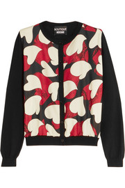 Boutique Moschino Printed crepe de chine-paneled wool cardigan