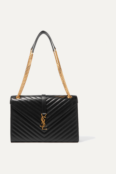 c07b21e897 SAINT LAURENT | Cassandre large quilted textured-leather shoulder ...