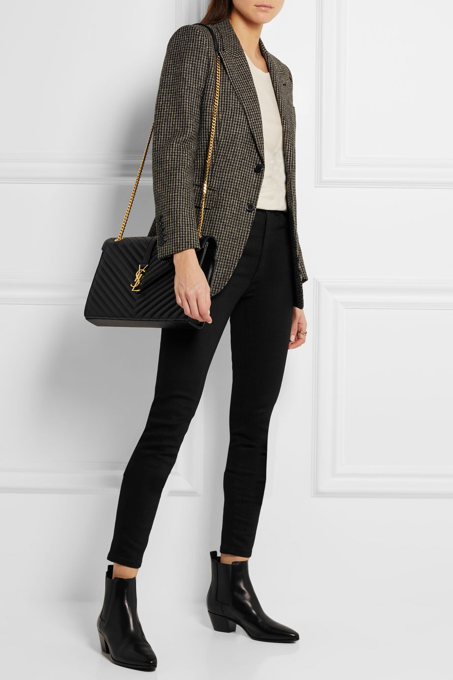SAINT LAURENT Cassandre large quilted textured-leather shoulder bag