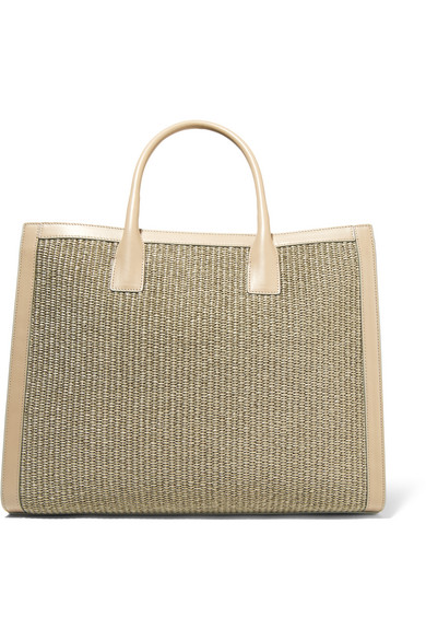 AERIN - Leather-trimmed Woven Straw Tote - Mushroom