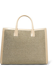 Leather-trimmed woven straw tote