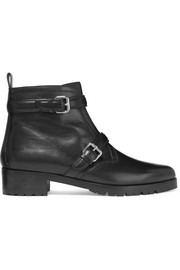 Aggy buckled leather biker boots