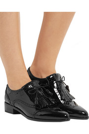 Glenna patent-leather brogues