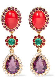 Miu Miu Gold-tone, cabochon and crystal clip earrings
