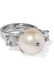 Miu Miu Silver-plated, faux pearl and crystal ring