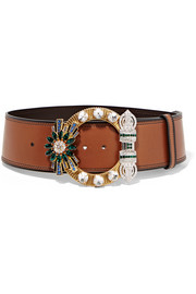 Miu Miu Crystal-embellished leather waist belt