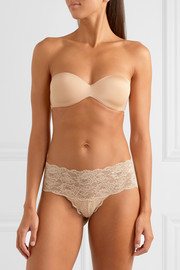 Matte-satin and stretch-mesh strapless bra