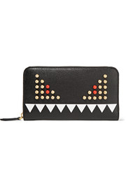 Crayons embellished textured-leather continental wallet