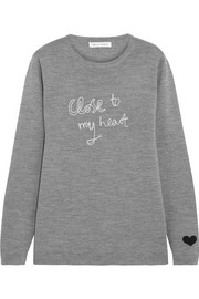 Bella Freud Close To My Heart embroidered merino wool sweater