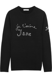 Bella Freud Je T'aime Jane embroidered wool sweater