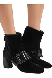Buckled patent-leather and velvet ankle boots