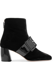 Miu Miu Buckled patent-leather and velvet ankle boots