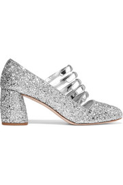 Miu Miu Glittered metallic leather pumps