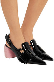 Miu Miu Shearling-trimmed patent-leather slingback pumps