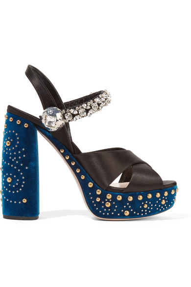 77207113fd94 Miu Miu. Embellished satin and velvet platform sandals