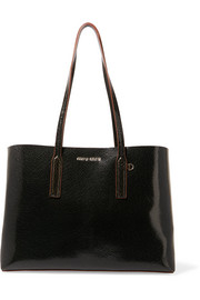 Cracked glossed-leather tote