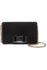 Patent leather-trimmed velvet shoulder bag