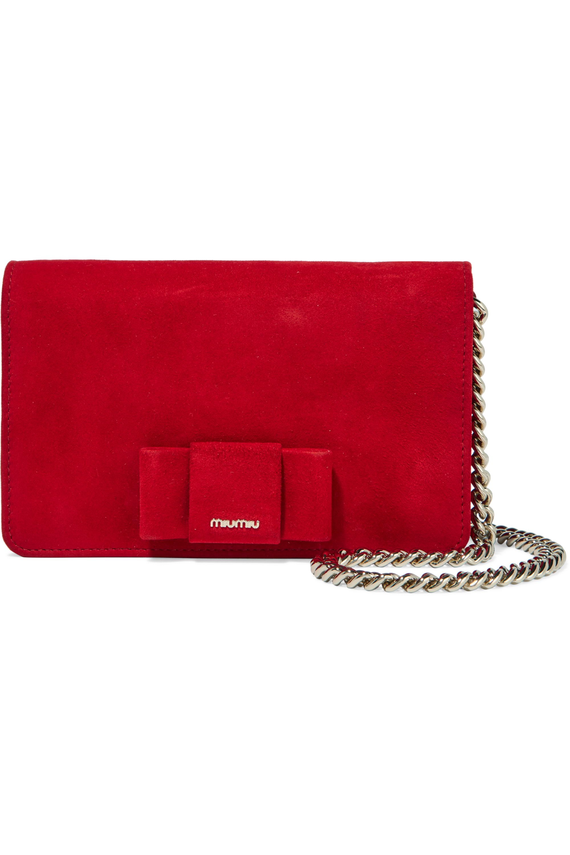 Miu Miu Bow-embellished suede shoulder bag