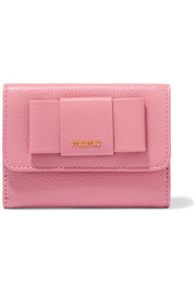 Miu Miu Bow-embellished textured-leather wallet