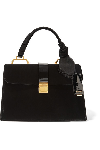 Miu Miu - School Velvet And Patent-leather Tote - Black