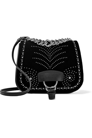 f40ade5aff5b Miu Miu. Dahlia studded velvet and leather shoulder bag
