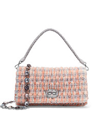 Embellished bouclé-tweed shoulder bag