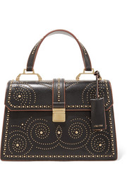 School studded leather tote