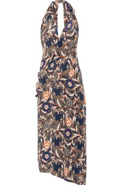 Madison printed silk halterneck dress