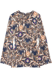 Haney Printed stretch-silk blouse