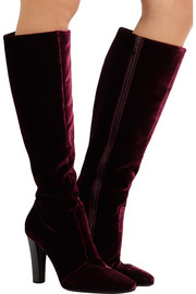 Saint Laurent Lily velvet knee boots