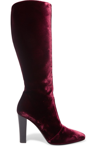 Saint Laurent - Lily Velvet Knee Boots - Plum