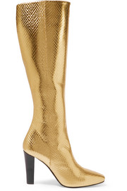 Lily metallic snake-effect leather knee boots