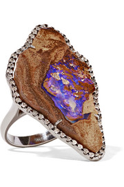 Kimberly McDonald 18-karat blackened white gold, opal and diamond ring