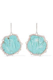 Kimberly McDonald 18-karat white gold, turquoise and diamond earrings