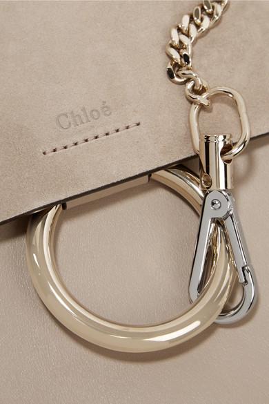 Chloé Faye mittelgroße Schultertasche aus Leder und Veloursleder