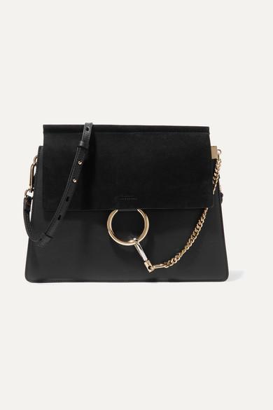chloe female chloe faye medium leather and suede shoulder bag black