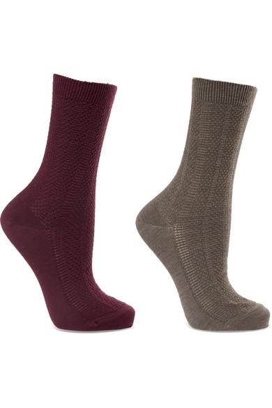 Falke - Set Of Two Armour Textured Wool-blend Socks - Gray