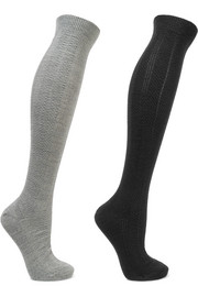 Armour set of two textured wool-blend socks